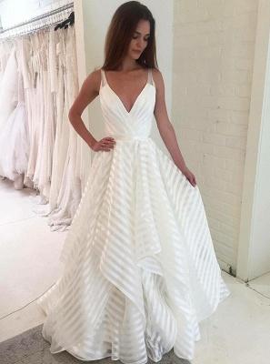 Elegant V-Neck Sleeveless Wedding Dress   A-Line Bridal Gowns_1