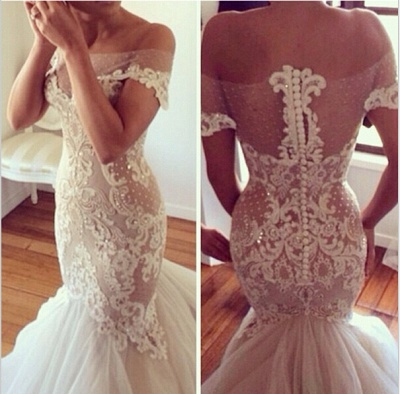 Delicate Lace Appliques Sexy Mermaid Wedding Dress Beadss Zipper Button Back_4