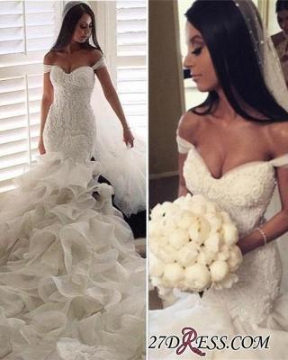 Newest Sexy Mermaid Elegant Sweetheart Crystal Ruffles Wedding Dress_3