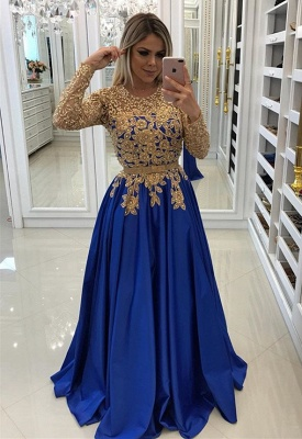 Modern Royal Blue & Gold Lace Evening Dress UK   Long Sleeve Party Gown_1