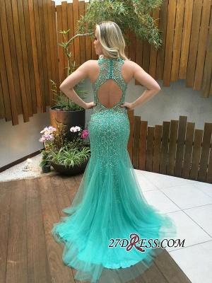 Beads Mermaid Tulle Zipper Luxury Sleeveless Prom Dress UK_1