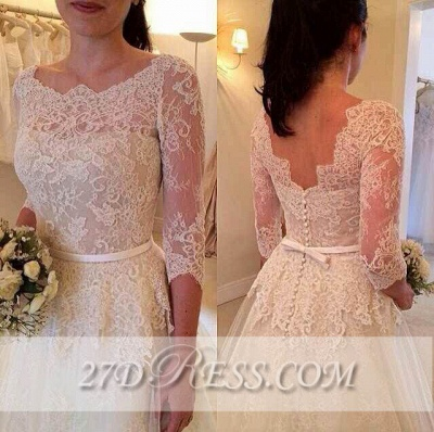 3/4 Sleeve Lace A-Line Wedding Dresses UK Tulle Bowknot Simple Bridal Gowns_1