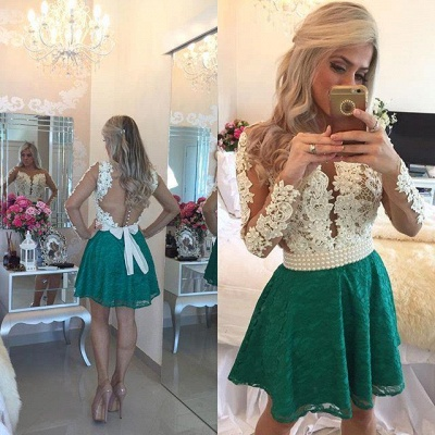 Modern Long Sleeve Pearls Homecoming Dress UK Lace Pearls On Sale BT0_3