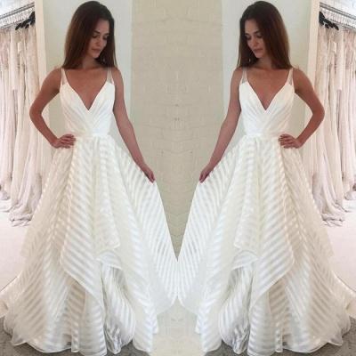 Elegant V-Neck Sleeveless Wedding Dress   A-Line Bridal Gowns_4