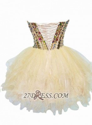 Luxurious Sweetheart Sleeveless Cocktail Dress UK Colorful Crystals Lace-up Organza Short Homecoming Dress UK_2