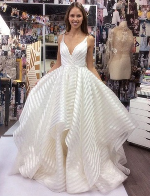 Elegant V-Neck Sleeveless Wedding Dress   A-Line Bridal Gowns_3