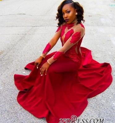 Sheath High-Neck Red Long-Sleeve Poprlar Lace Appliques Prom Dress UK BK0_1