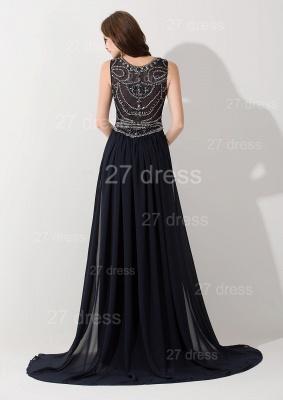 Modern Black Black A-line Evening Dress UK Beadings Sweep Train_2
