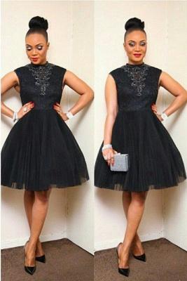 Elegant Black Short Tulle Prom Dress UK Appliques High Neck_1