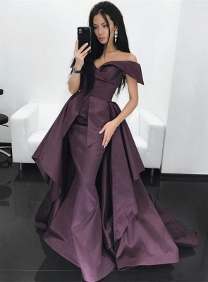 Gorgeous Off-the-Shoulder Mermaid Evening Dress UK Long With Ruffles_4