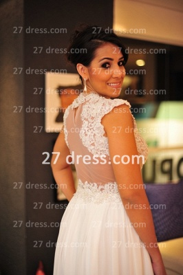 White Lace Gowns for Evenings Chiffon Vestidos De Fiesta Cap Sleeves Nude Back Prom Dress UKes UK_2