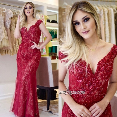 Red lace prom Dress UK, mermaid evening gowns_5