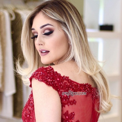 Red lace prom Dress UK, mermaid evening gowns_3