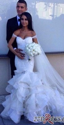 Newest Sexy Mermaid Elegant Sweetheart Crystal Ruffles Wedding Dress_4