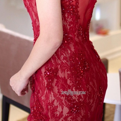Red lace prom Dress UK, mermaid evening gowns_2