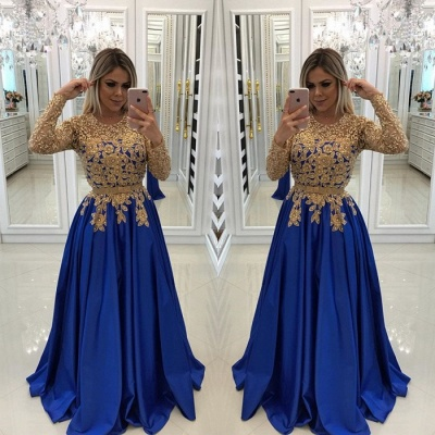 Modern Royal Blue & Gold Lace Evening Dress UK | Long Sleeve Party Gown_3