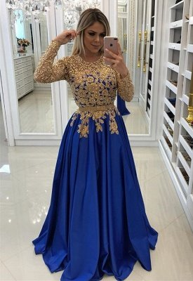 Modern Royal Blue & Gold Lace Evening Dress UK | Long Sleeve Party Gown_1