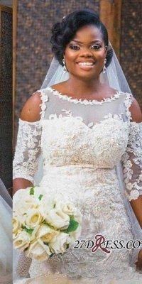 Tulle Appliques Sexy Mermaid Half-Sleeves Newest Scoop Neckline Elegant Wedding Dress_2