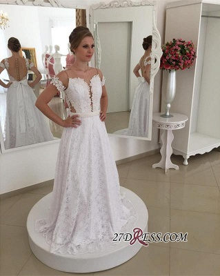 Bow A-line Short-Sleeve White Pearls Elegant Long Lace Wedding Dress_1