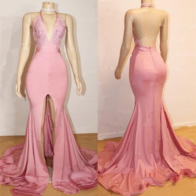 Sexy Pink Prom Dress UK | Backless Lace Evening Gown With Slit BA9087_3