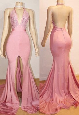 Sexy Pink Prom Dress UK | Backless Lace Evening Gown With Slit BA9087_1