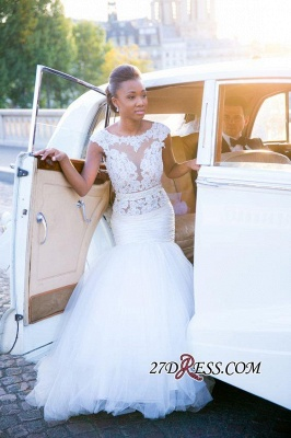 Appliques Tulle Sexy Mermaid Cap-Sleeves Open-Back White Wedding Dress_4