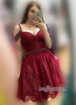 Lace Burgundy Off-the-Shoulder Elegant Bead A-line Homecoming Dress UKes UK_2