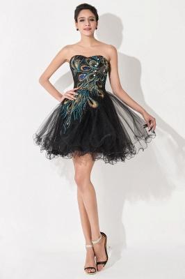 Elegant Black Sweetheart Short Tulle Homecoming Dress UK Peacock Design_2