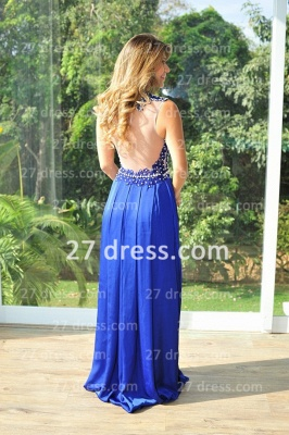 Chiffon Royal Blue Prom Dress UKes UK New Arrival Gowns for Evenings High Collar Sheer Sexy Back Lace Pearls Long Vestido Long_2
