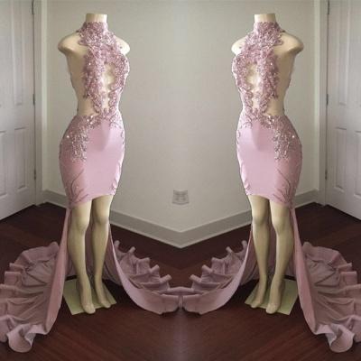 Modest High Neck Lace Appliques Prom Dress UK   Front Split Prom Dress UK_5