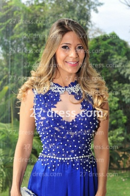 Chiffon Royal Blue Prom Dress UKes UK New Arrival Gowns for Evenings High Collar Sheer Sexy Back Lace Pearls Long Vestido Long_3