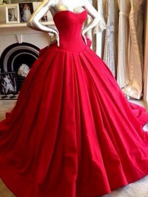 Sweetheart Red Wedding Dress Ball Gown Floor Length Sleeveless bridal Gowns_1