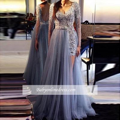 Tulle Beadings Long-Sleeve Prom Dress UK | Evening Formal Dress UK BA9359_1