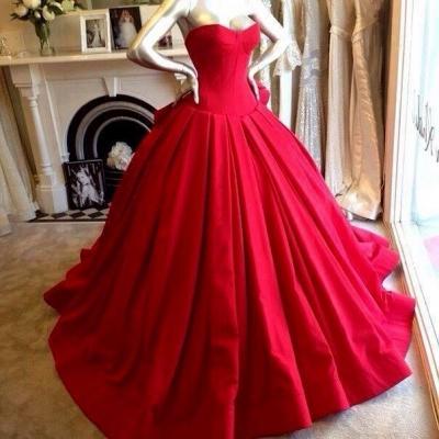 Sweetheart Red Wedding Dress Ball Gown Floor Length Sleeveless bridal Gowns_2