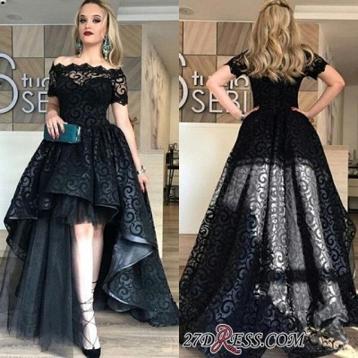 Black Short-Sleeve Elegant Lace Hi-Lo Prom Dress UK_2