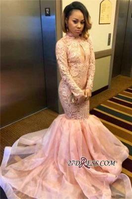 Elegant Pink Mermaid Keyhole Tulle Long-Sleeve High-Neck Prom Dress UK_1