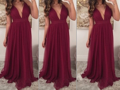 Sexy Burgundy Sleeveless Long Prom Dress UKes UK Chiffon Floor Length_3