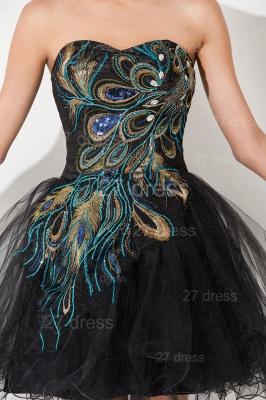 Elegant Black Sweetheart Short Tulle Homecoming Dress UK Peacock Design_5