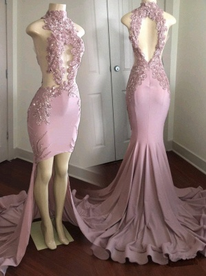 Modest High Neck Lace Appliques Prom Dress UK   Front Split Prom Dress UK_1