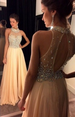 Luxury Crystals Chiffon A-line Prom Dress UK High Neck Zipper Sleeveless AP0_7