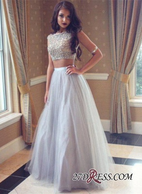 Long Tulle Beadings Two-Pieces Beautiful Prom Dress UK_3
