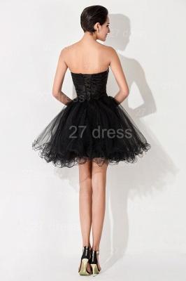Elegant Black Sweetheart Short Tulle Homecoming Dress UK Peacock Design_4