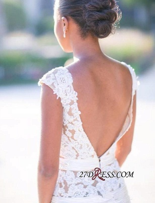 Appliques Tulle Sexy Mermaid Cap-Sleeves Open-Back White Wedding Dress_3
