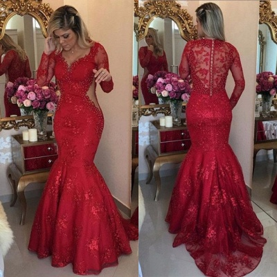 Sexy Long Sleeve Red Evening Dress UK Lace Beads Mermaid Party Dress UK BMT_4