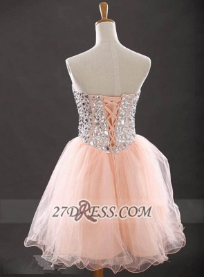 Gorgeous Sweetheart Sleeveless Short Homecoming Dress UK With Crystals Lace-up BA6890_2