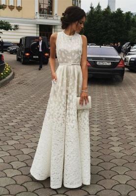 Luxury White Sleeveless Lace Floor Length BA3619_1