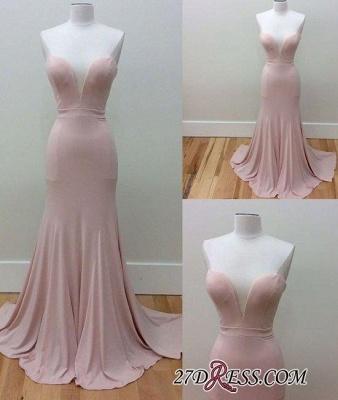 Pink Sleeveless Long Sweetheart-Neck Simple Mermaid Prom Dress UKes UK_1