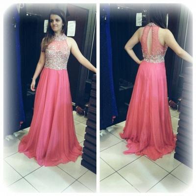 Luxury Crystals Chiffon A-line Prom Dress UK High Neck Zipper Sleeveless AP0_6