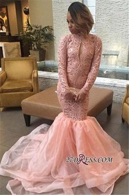 Elegant Pink Mermaid Keyhole Tulle Long-Sleeve High-Neck Prom Dress UK_2