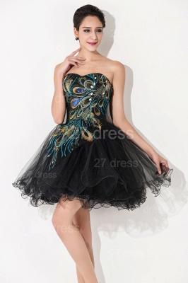 Elegant Black Sweetheart Short Tulle Homecoming Dress UK Peacock Design_3